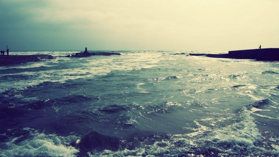 blue dark waves piers foam colors sea wallpaper
