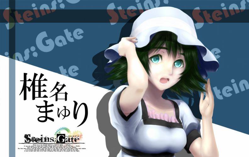 green hair open mouth anime Steins;Gate Shiina Mayuri aqua eyes anime girls wallpaper