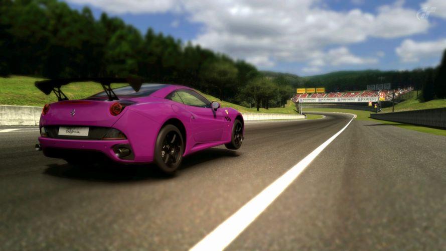 forests cars Ferrari California Gran Turismo 5 colors jump wallpaper