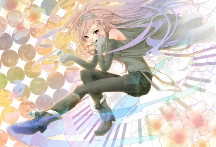boots Vocaloid flowers Megurine Luka long hair lollipops tongue pantyhose pink hair earphones blouse shorts pink eyes anime girls hair band keys piano keys knee socks wallpaper