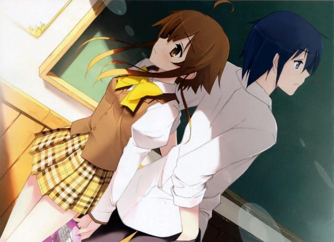 school uniforms artwork anime anime girls Kantoku (artist) wallpaper