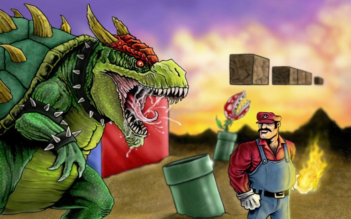 Mario Bros Super Mario Bowser artwork realistic game wallpaper