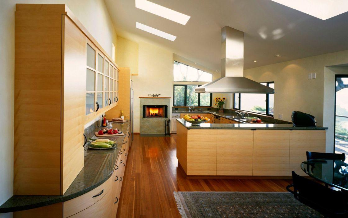architecture room kitchen interior wood floor wallpaper