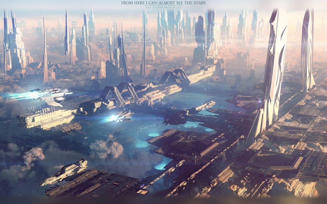 cityscapes futuristic urban futurist digital art science fiction vessel wallpaper