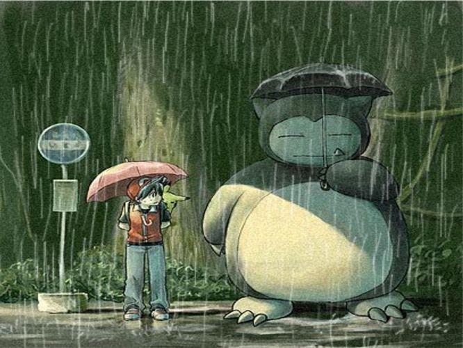 Pokemon rain Totoro parody Snorlax bus stop umbrellas wallpaper