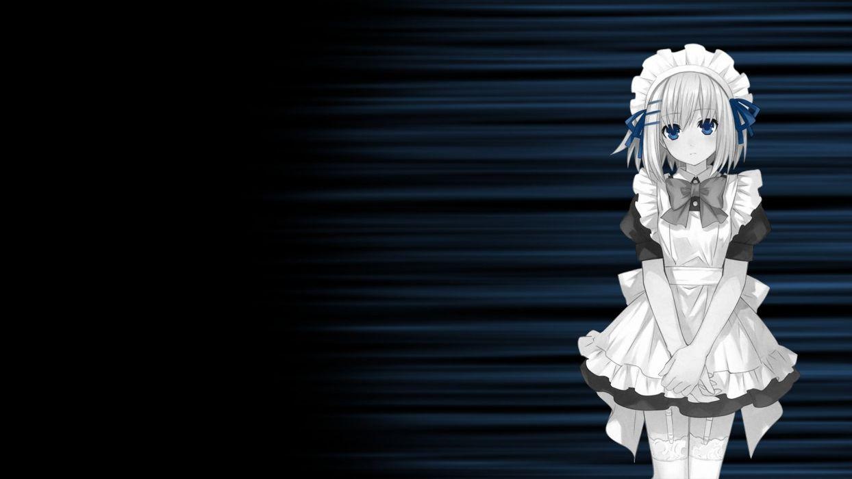 date a live maid monochrome tobiichi origami wallpaper