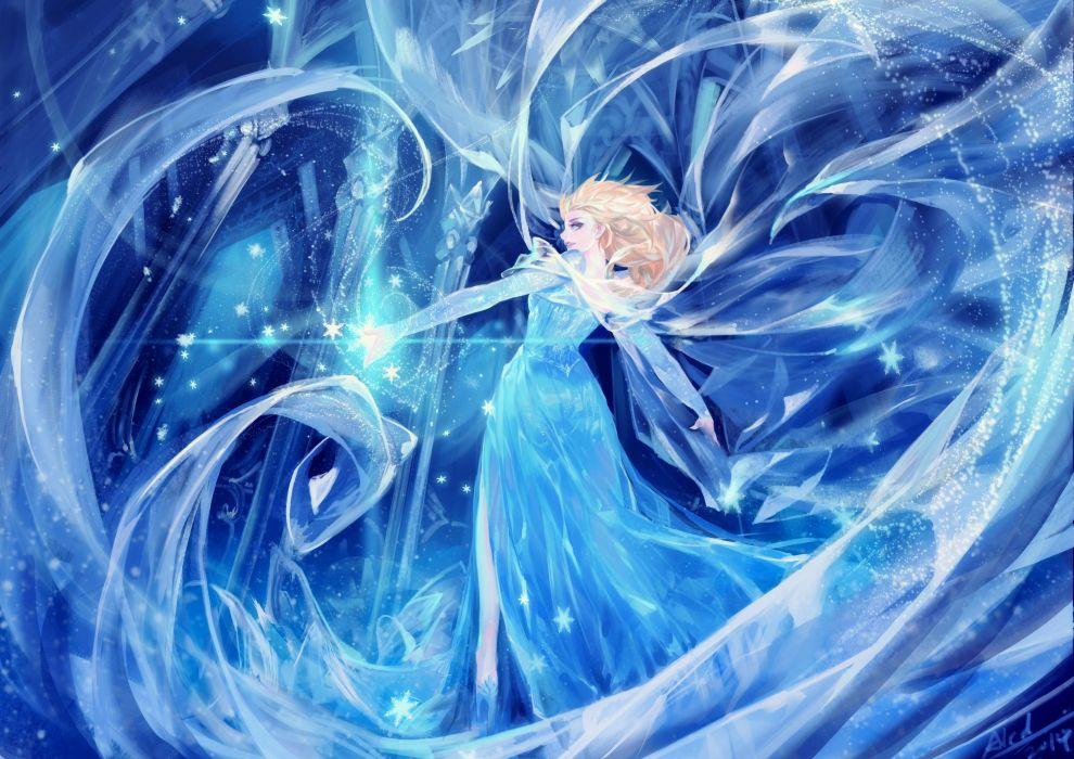 frozen (disney) alcd blonde hair blue blue eyes dress elsa (frozen) frozen (disney) signed snow wallpaper