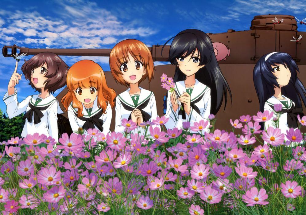 girls und panzer akiyama yukari flowers girls und panzer isuzu hana nishizumi miho reizei mako seifuku takebe saori wallpaper