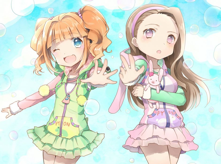 idolmaster girls gum (vivid garden) idolmaster minase iori takatsuki yayoi wink wallpaper