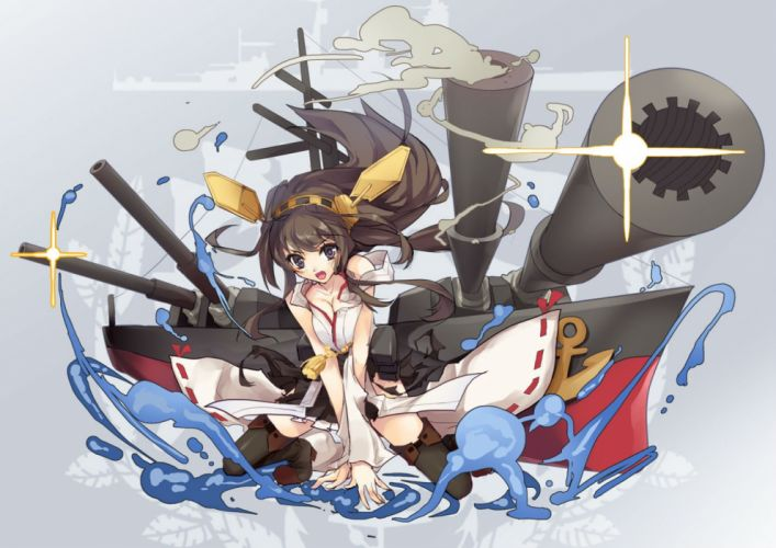 kantai collection breasts brown hair cleavage headband japanese clothes kongou (kancolle) long hair miko purple eyes skirt thighhighs torn clothes water yoshiwo wallpaper