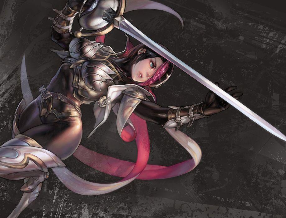 league of legends aoin (omegaboost) aqua eyes armor black hair fiora jpeg artifacts league of legends pink hair short hair sword weapon wallpaper