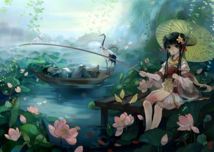 original animal bird black hair boat bow braids flowers frog long hair original petals ribbons sleeping umbrella water wallpaper