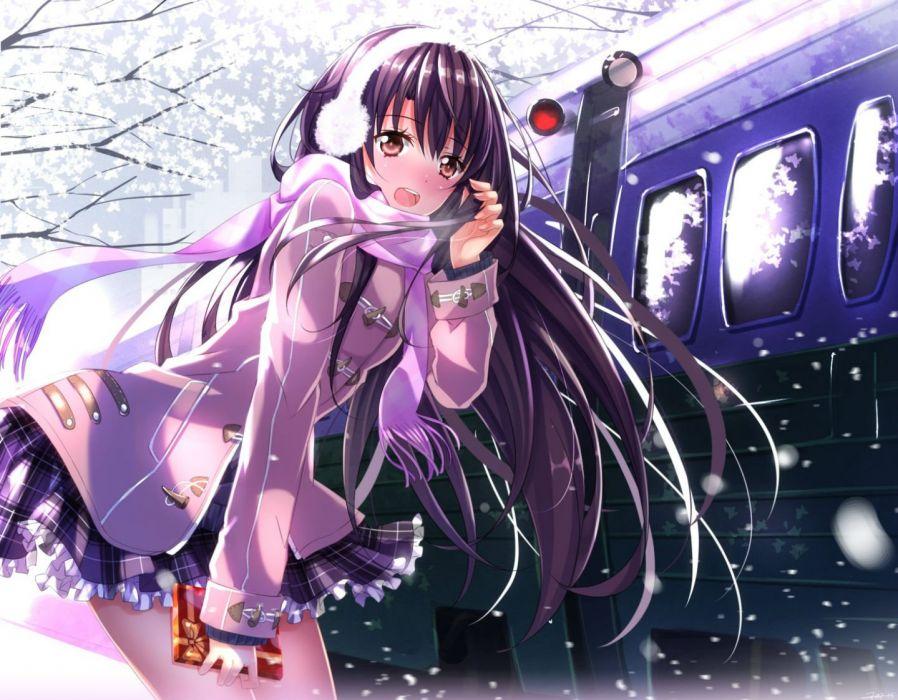 original blush brown eyes long hair original purple hair scarf skirt snow swordsouls train valentine wallpaper