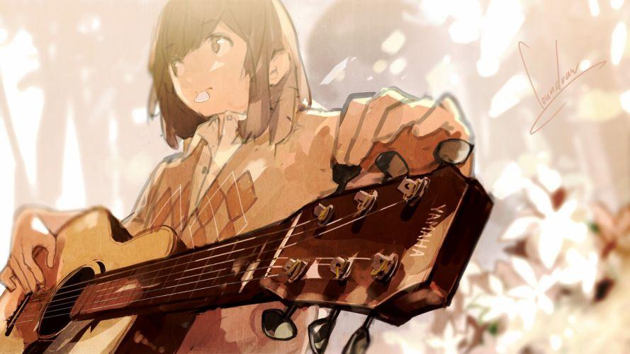 original brown eyes brown hair guitar instrument loundraw original short hair signed wallpaper