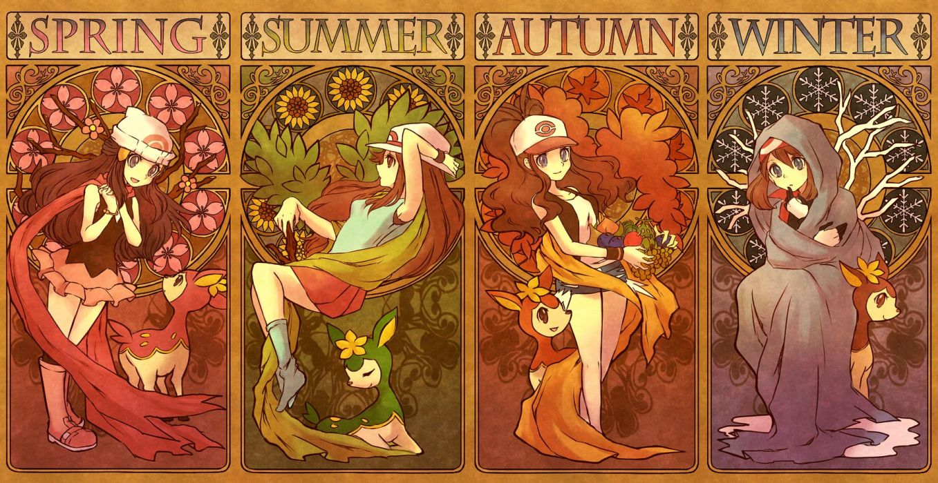 pokemon autumn blue eyes boots brown eyes brown hair deerling flowers gloves hat long hair pokemon scarf shorts skirt spring summer torute winter wallpaper