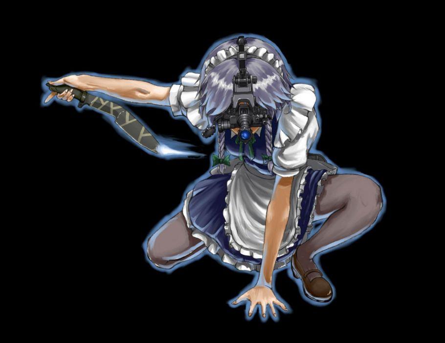 touhou apron black blue hair bow braids dress goggles izayoi sakuya knife maid sniper stockings touhou weapon wallpaper