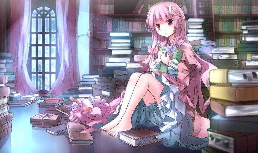 touhou barefoot bloomers book bow hat long hair patchouli knowledge purple eyes purple hair risutaru touhou wallpaper