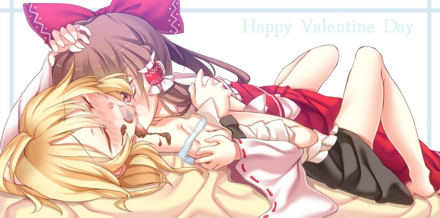 touhou blush chocolate hakurei reimu ina kirisame marisa touhou valentine yuri wallpaper