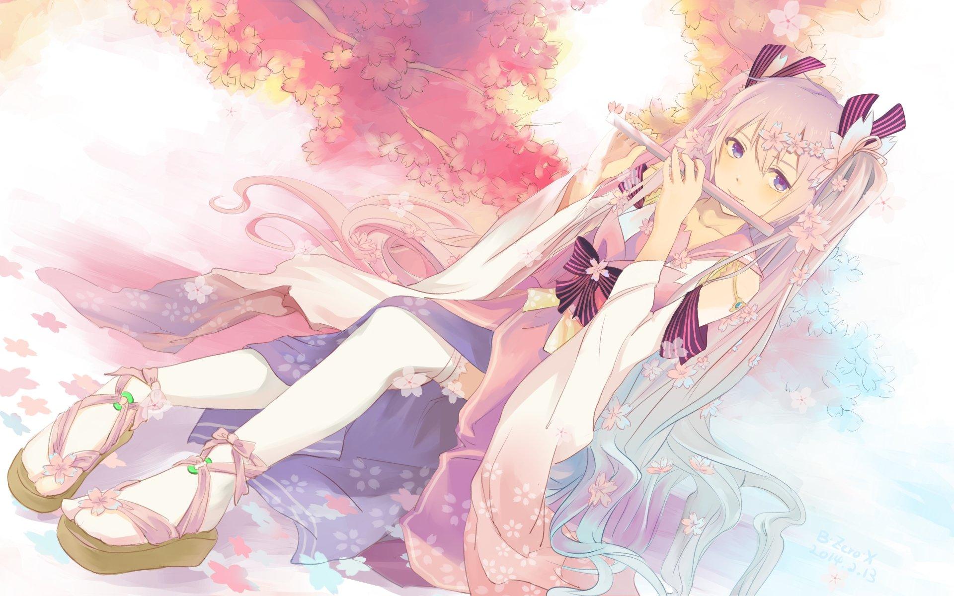 Vocaloid Blue Eyes Bow Bzerox Flowers Flute Hatsune Miku