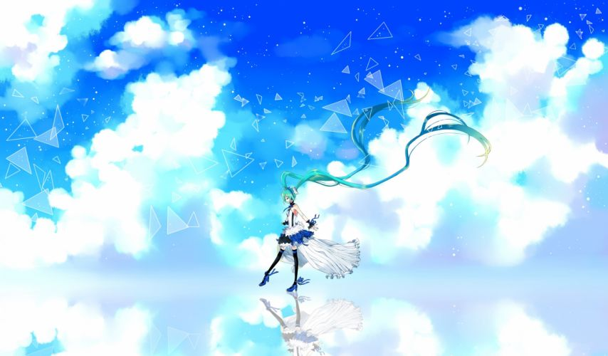 vocaloid 7th dragon aqua hair choker clouds cu riyan dress hatsune miku headphones long hair ribbons sky thighhighs twintails vocaloid wallpaper