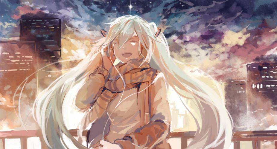 vocaloid azalea building clouds hatsune miku night scarf sky stars twintails vocaloid white hair wallpaper