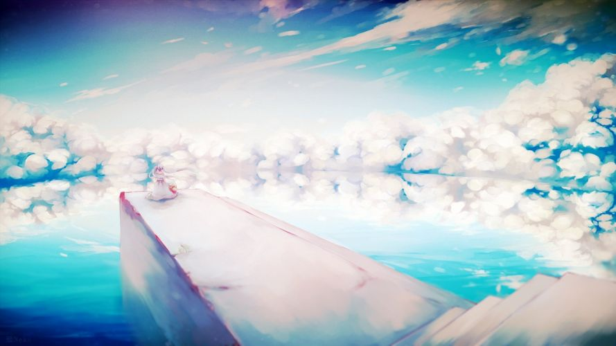 vocaloid clouds dress hat hatsune miku kabenekoneko long hair scenic sky stairs twintails vocaloid water watermark wallpaper