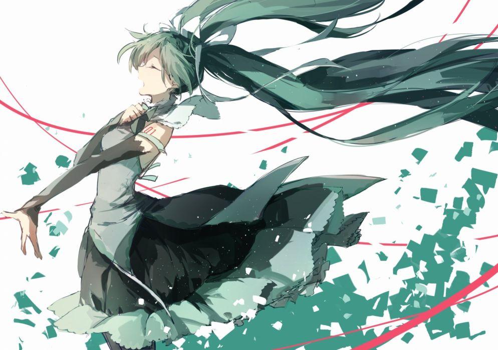 vocaloid dress green hair hatsune miku long hair shuzi twintails vocaloid wallpaper