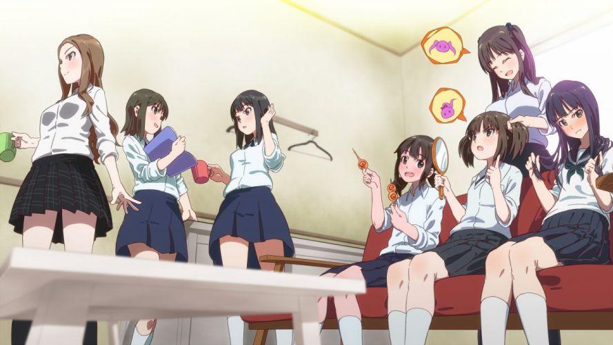 wake up girls! group hayashida airi hisami nanami kikuma kaya mirror nanase yoshino okamoto miyuu seifuku shimada mayu skirt socks stampede xm tagme wake up girls! wallpaper