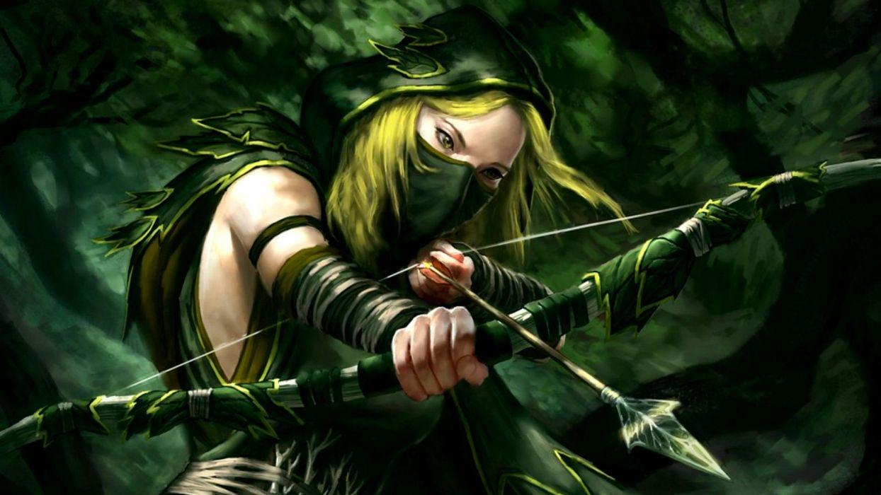 warrior archer weapon girl blond wallpaper