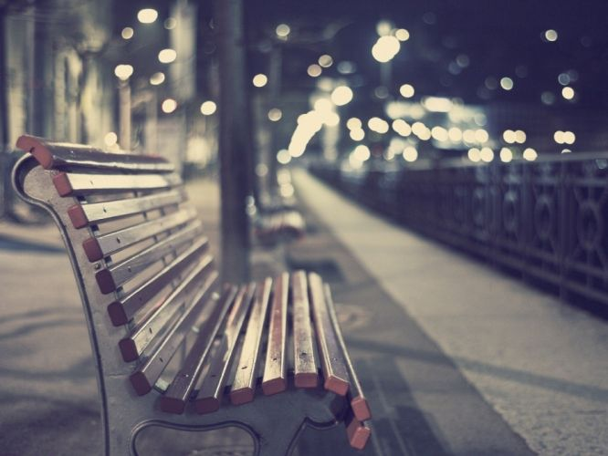 deserts park bench night city wallpaper