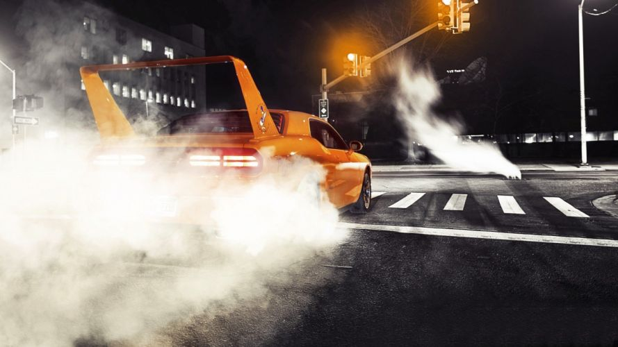streets night cars Dodge vehicles Dodge Challenger burnout spoiler wallpaper