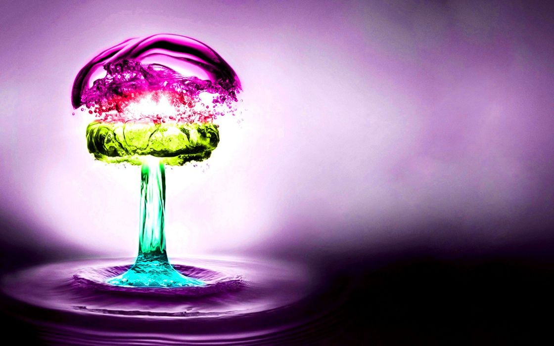 water abstract multicolor purple nuclear explosions splashes wallpaper