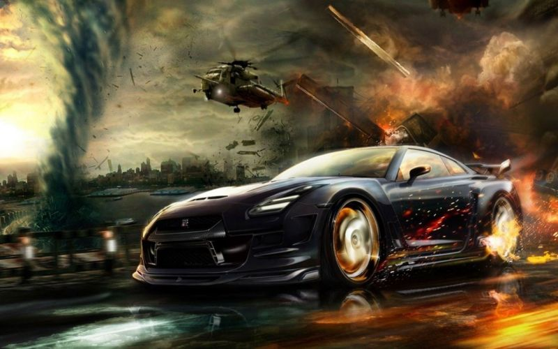 clouds helicopters cars explosions fire storm weather tornadoes Nissan technics artwork vehicles Explosions in the Sky Nissan GT-R Storm Front skies fast Nissan GT-R R35 wallpaper