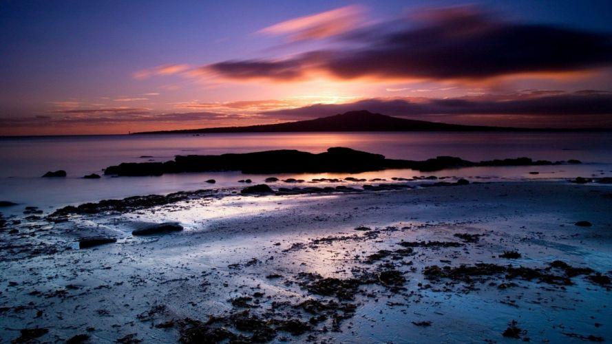 ocean sunset beach nature landscape cloud reflection rock hd 4k ultrahd wallpaper wallpaper