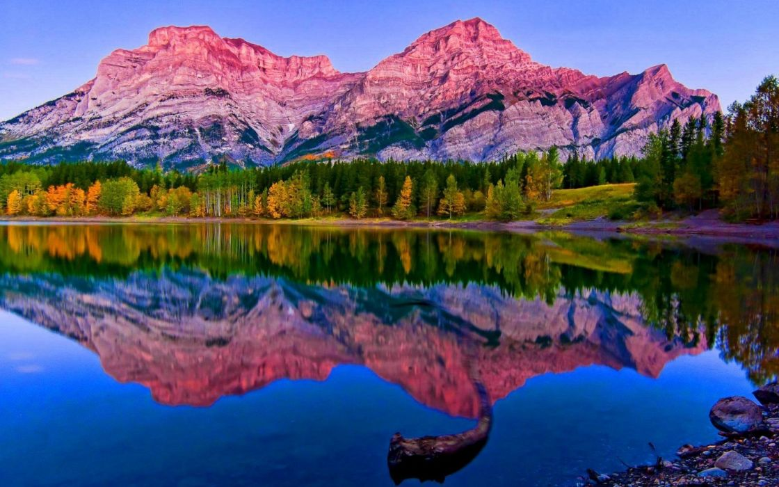 Mountain Nature Landscape Cloud Lake Tree Reflection River Rock Hd
