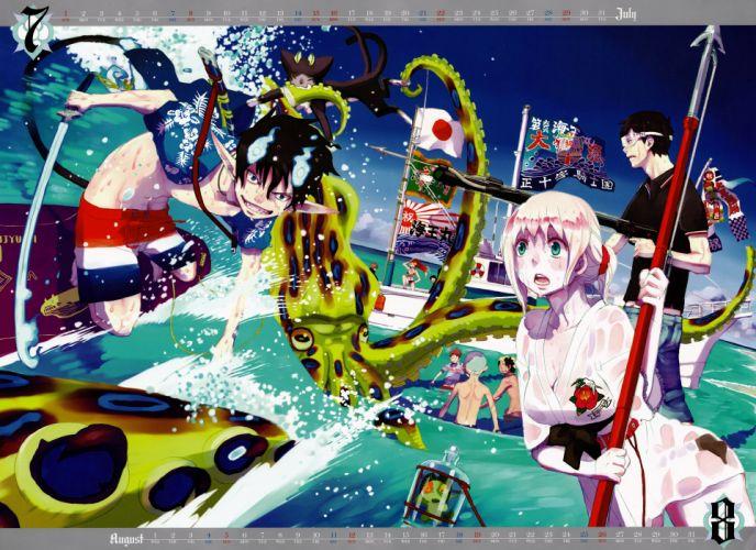 calendar anime Ao no Exorcist Okumura Rin Okumura Yukio Shiemi Moriyama wallpaper