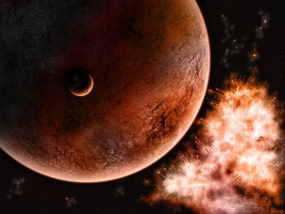 outer space planets orange bright wallpaper