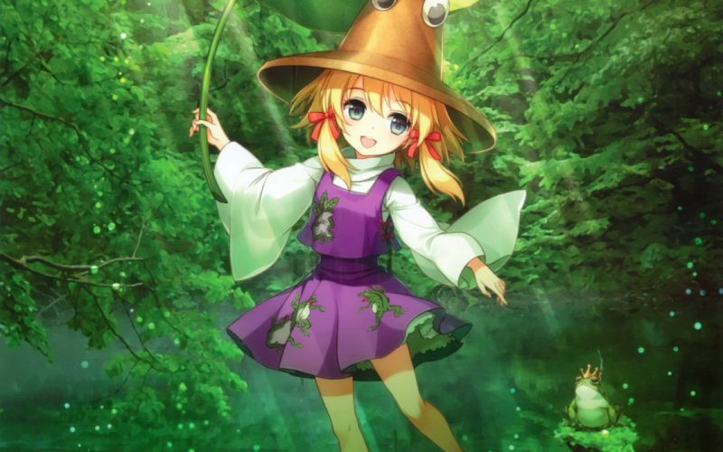 blondes green water video games nature Touhou trees dress animals leaves skirts green eyes short hair frogs sunlight twintails Moriya Suwako smiling bows open mouth crows purple dress reflections hats Japanese clothes anime girls hair ornaments An2a wide wallpaper