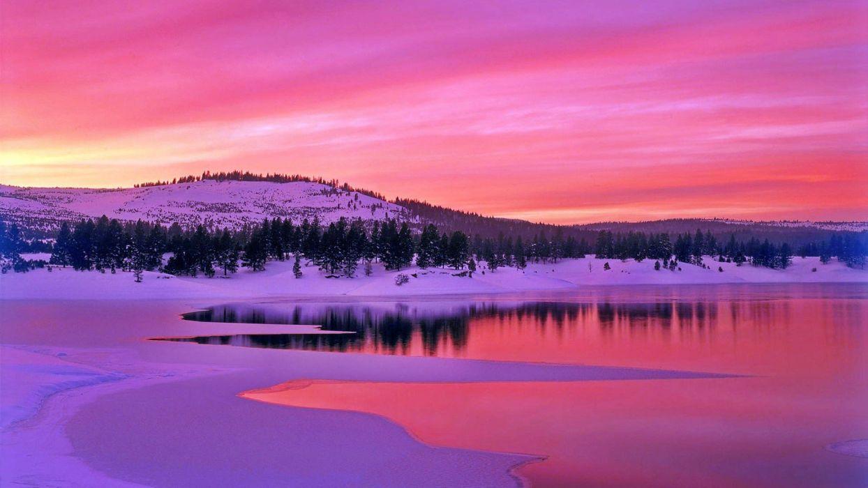 landscapes nature winter California lakes land wallpaper