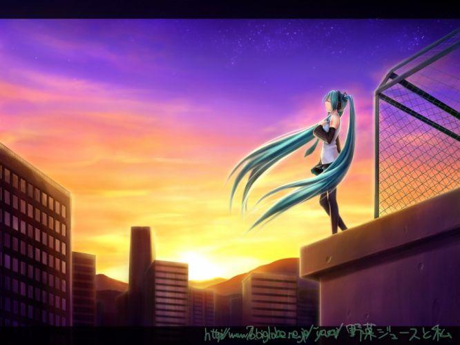 Vocaloid Hatsune Miku detached sleeves wallpaper