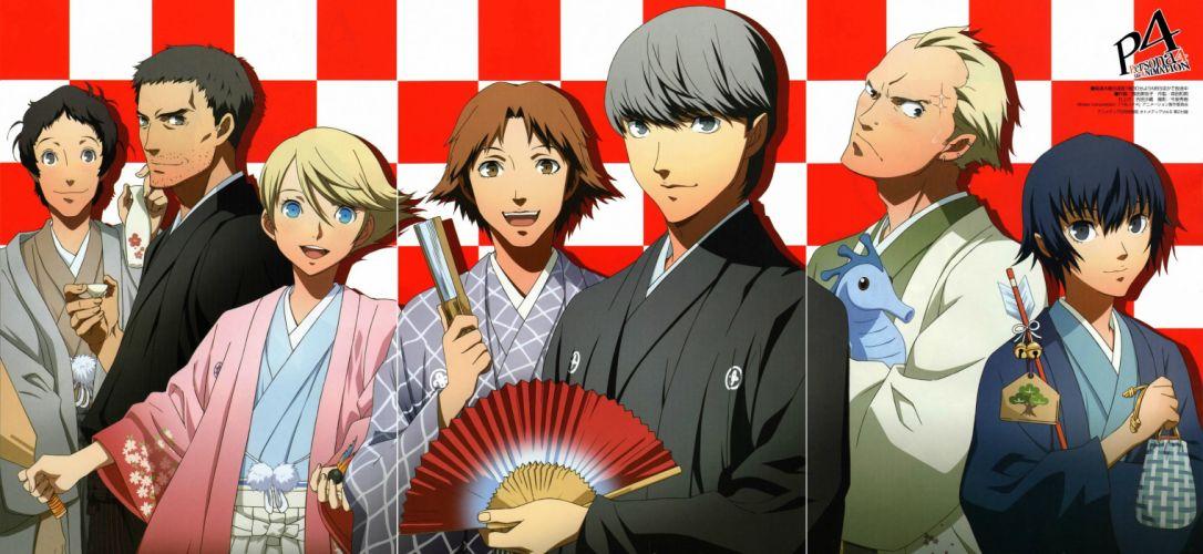 Persona series Persona 4 Hanamura Yosuke Narukami Yuu Shirogane Naoto Tatsumi Kanji Adachi Tooru Teddie (Persona 4) wallpaper