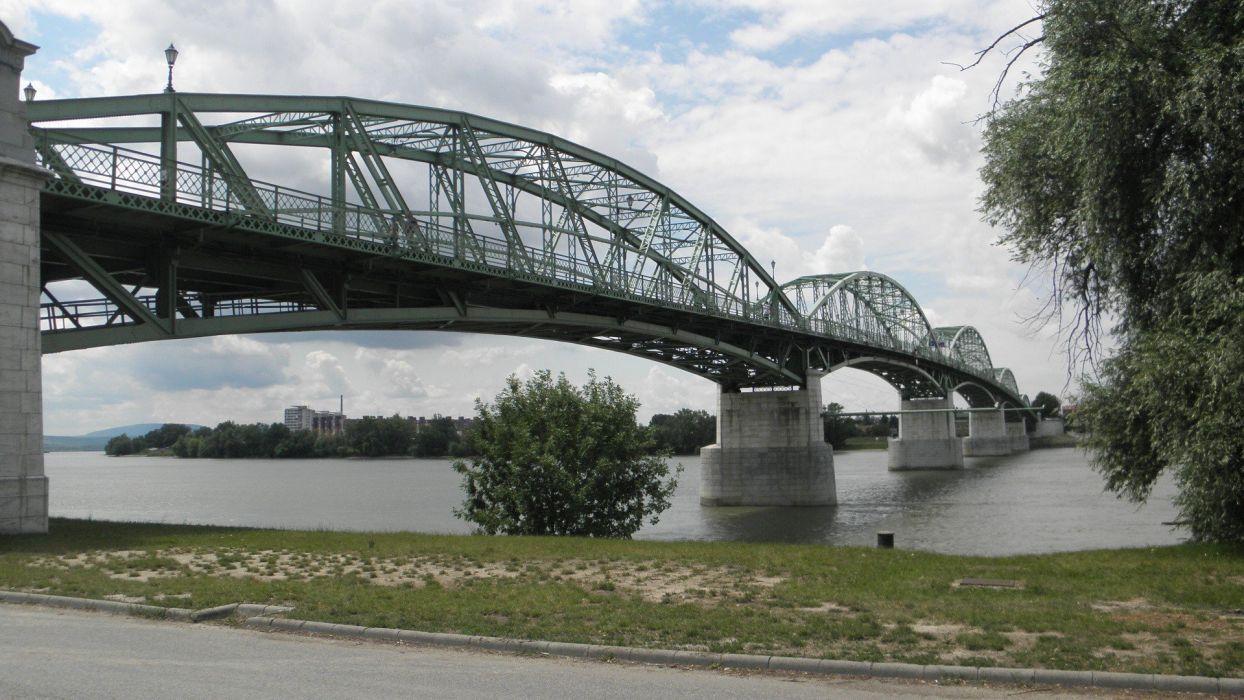 bridges Hungary rivers Duna Esztergom wallpaper