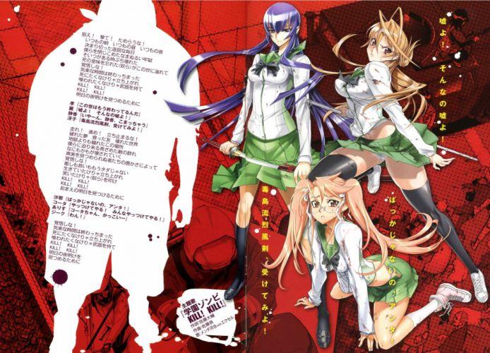 school uniforms Highschool of the Dead Miyamoto Rei Busujima Saeko Takagi Saya wallpaper