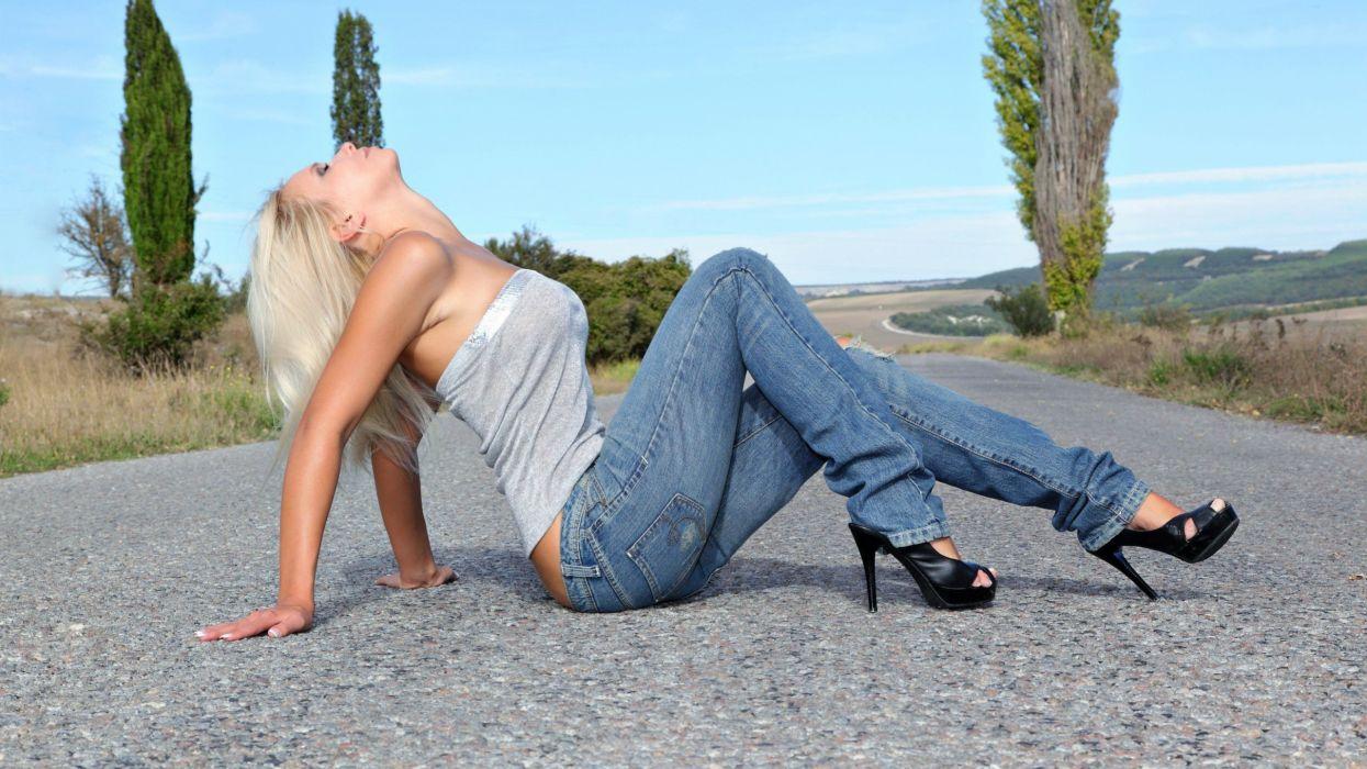 blondes women jeans outdoors high heels roads Katerina H wallpaper