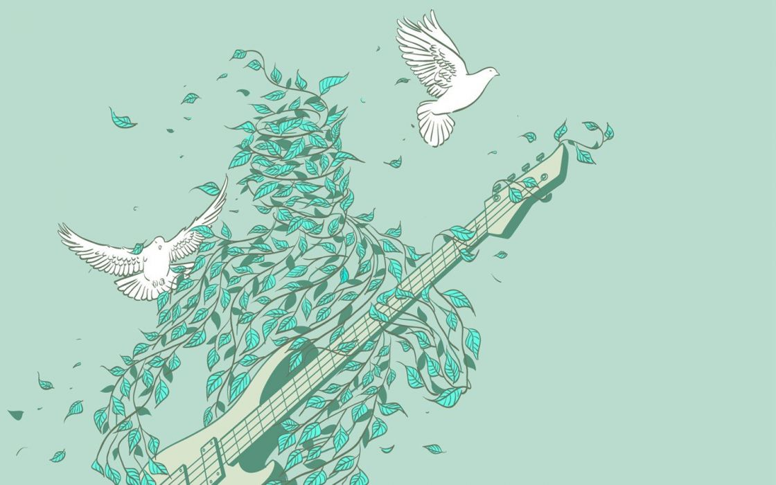 nature music doves Rock music pastel wallpaper