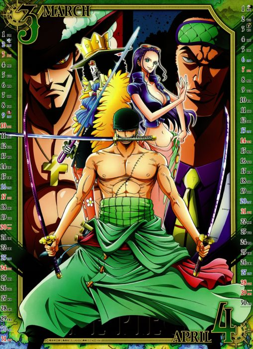 Robin One Piece (anime) Roronoa Zoro calendar Hawkeye manga Brook (One Piece) Aokiji wallpaper