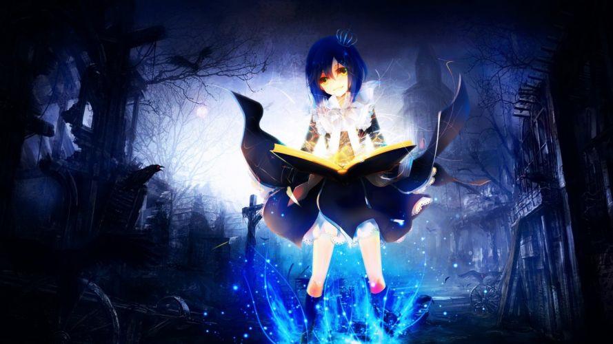 mage magic anime soft shading anime girls wallpaper