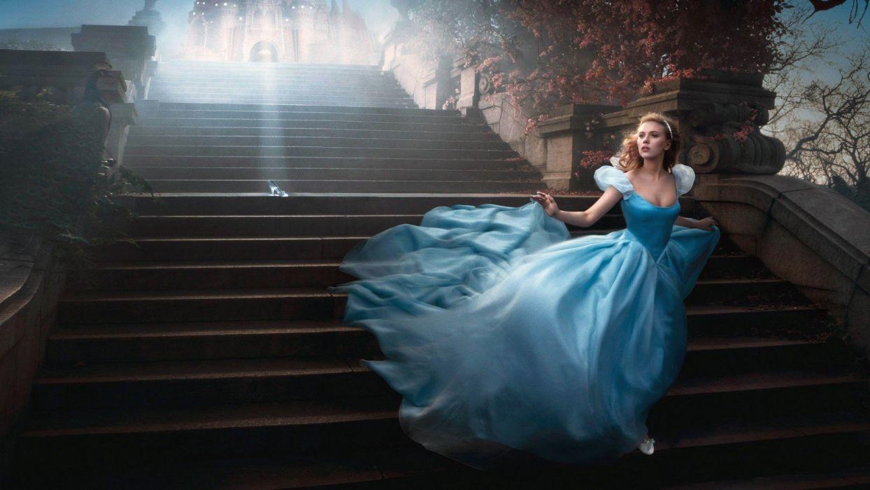 blondes women Scarlett Johansson princess celebrity Cinderella blue dress Annie Leibovitz wallpaper