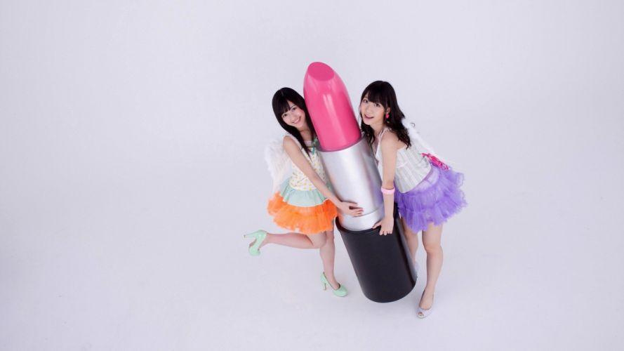 brunettes women models Asians simple background AKB48 jpop wallpaper