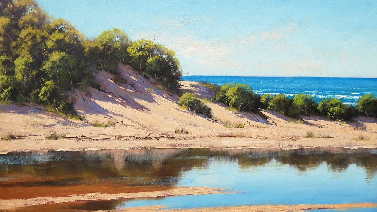 paintings sand dunes wallpaper